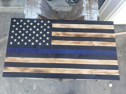 Thin Blue Line Rustic Flag
