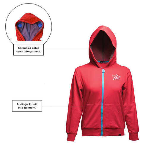 SoundStitch™ Kid's Zip-Up Hoodie, Red