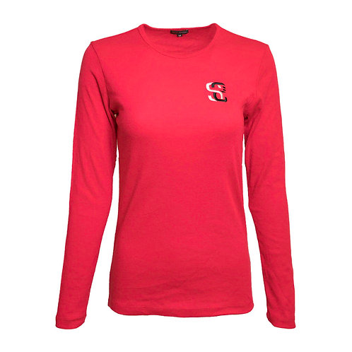 SoundStitch™ Women's Baby Rib Long Sleeve Tee, Red
