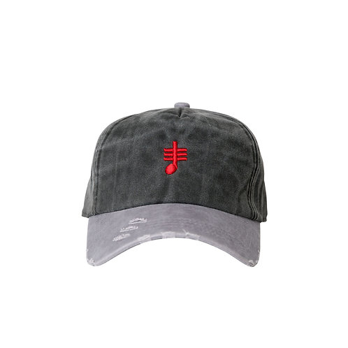 SoundStitch™ Distressed Brim Dad Cap w/ Note, Charcoal Grey