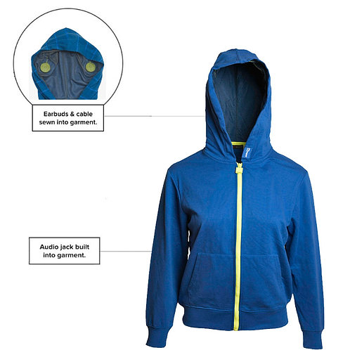 SoundStitch™ Kid's Zip-Up Hoodie, Royal Blue