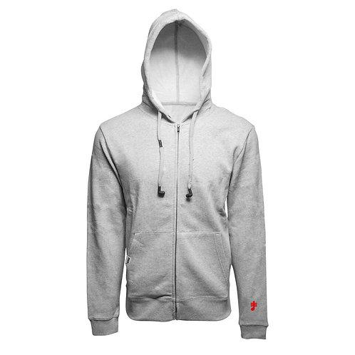 SoundStitch™ Unisex Zip-Up Hoodie w/ Sleeve Note, Light Grey