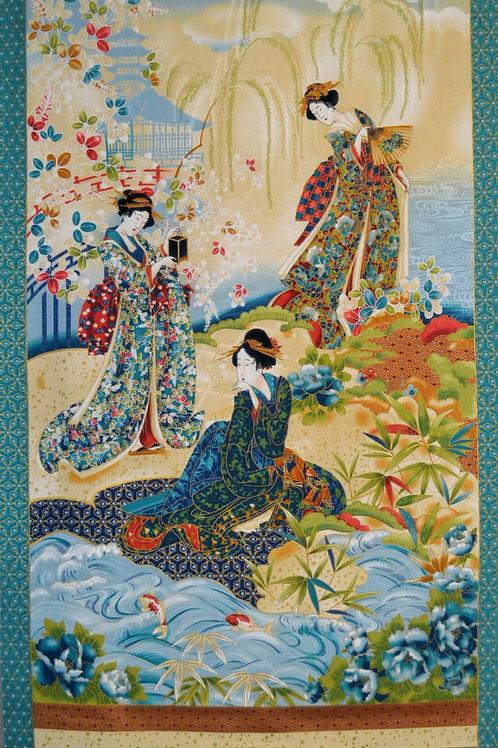 Les 3 japonaises 2 bords turquoise