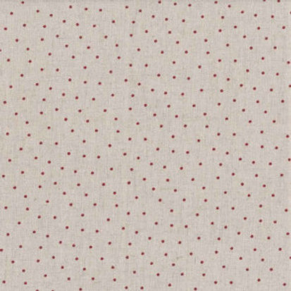 Shabby chic pois rouges fond lin