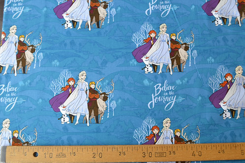 Elsa, Anna, Kristoff et Sven fond bleu