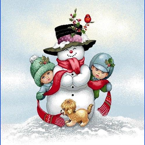 Carré - Bonhomme de neige et enfants