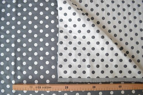 Pois blanc sur fond gris réversible