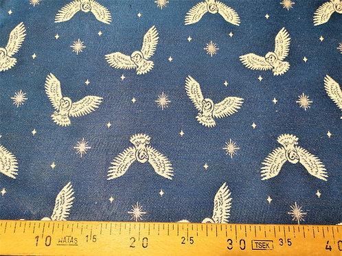 Ameublement 50 - Chouettes blanches fond bleu roi étoiles argent