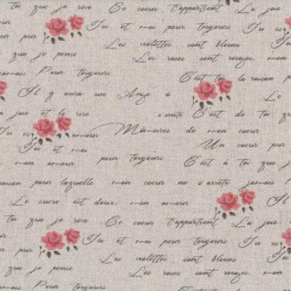 Shabby chic roses rouges claires et écritures