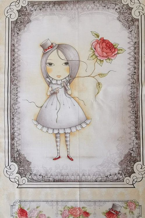 Mirabella Santoro et la rose fond beige