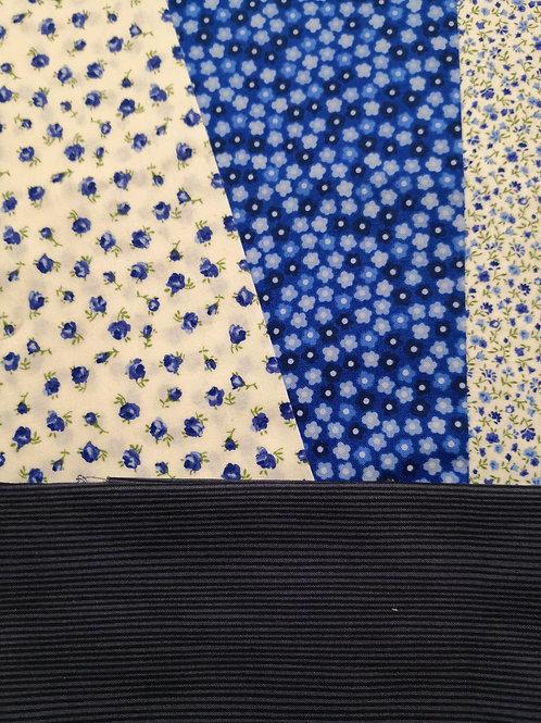 Fleurettes  bleu stof x4