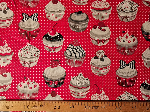 Cup cake gros motif fond rouge