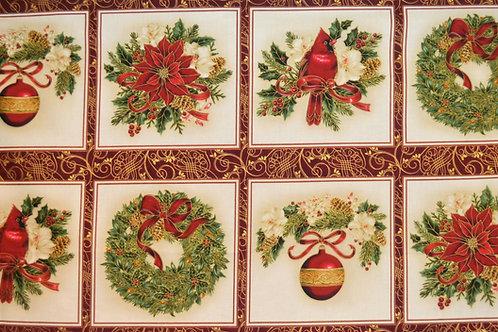 Couronne Noël rouge et or