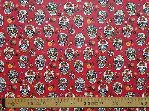 Tête de mort mexicaine fond rouge