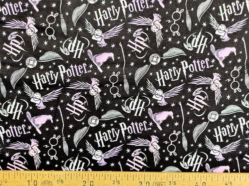 Chouette et lunette Harry Potter en flanelle rose blanc et noir