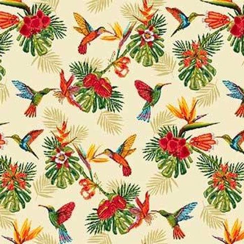 Ameublement 50 - Colibri et fleurs gros motifs