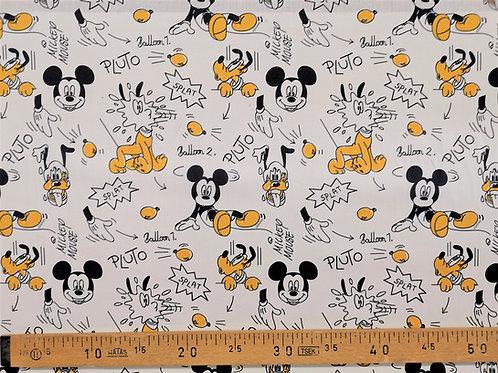 Mickey et Pluto en jaune et noir