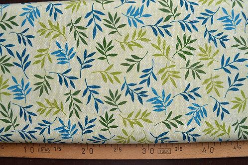 feuilles vertes et bleus sur fond vert clair
