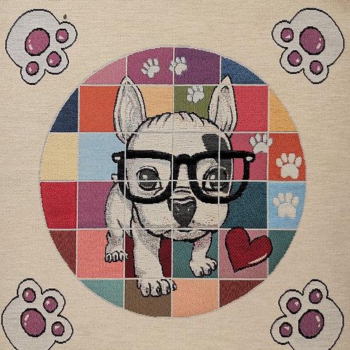 Carré - Chien lunette