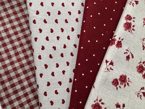 lot de 4 tissus shabby chic rouges (petits carreaux , coeurs ,pois ,roses )