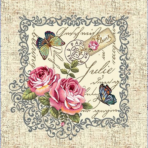Carré - Fleurs et papillons Julie