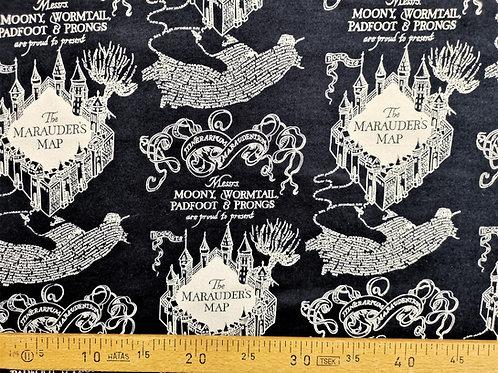 Carte du maraudeur fond bleu marine en flanelle