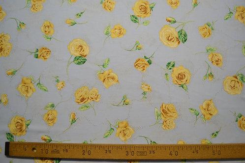 Roses jaunes fond bleu