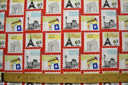 Monuments de Paris dans carrés rouges