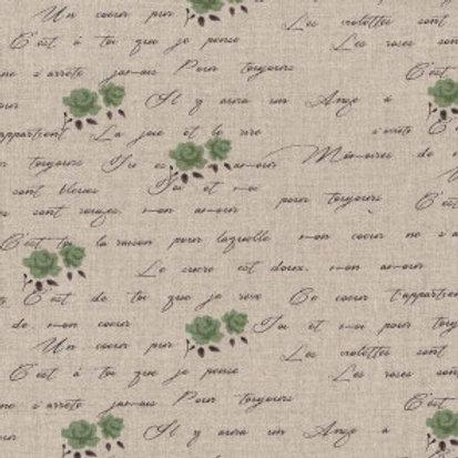 Shabby chic écritures et fleurs vertes fond lin