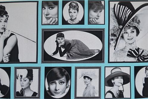 Audrey Hepburn noir et bleu ciel