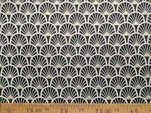Ameublement 50 - Éventails noirs, blanc et triangles lurex or
