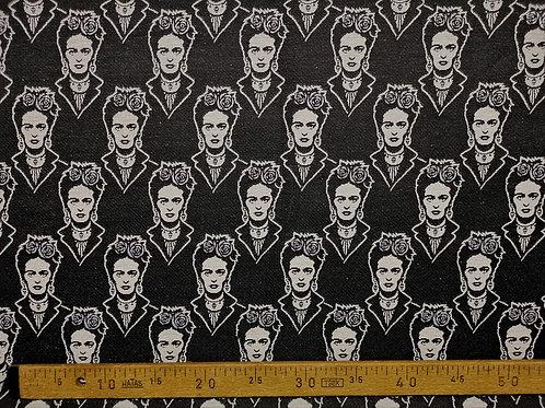 Frida sur fond noir couronne fleur lurex argent
