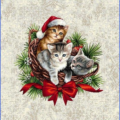 Carré - 3 chatons de Noël