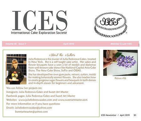 "ICES International Cake Exploration Societe Newsletters Article ""Spring Cake"""