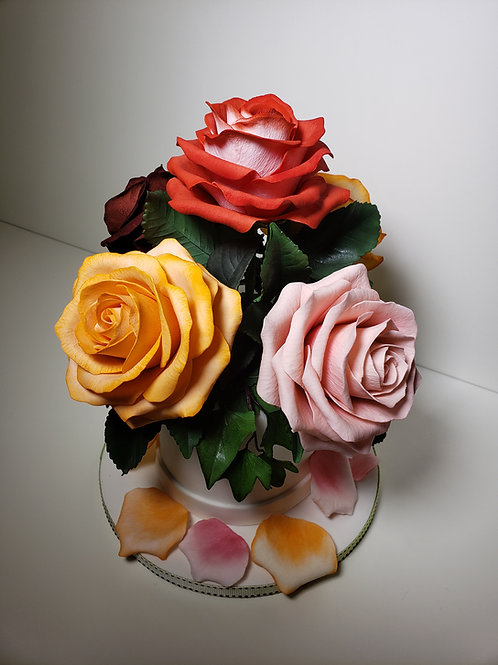 Rose botanically correct full blooming with leaves class January,18/2020