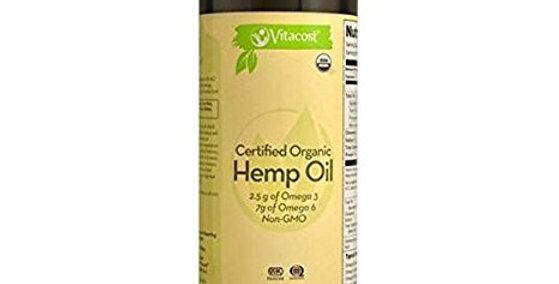 Vitacost Certified Organic Hemp Oil Non-GMO 24 fl oz (710ml)