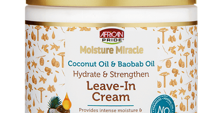 African Pride Moisture Miracle Coconut Oil & Baobab Oil Leave-In Cream 15 oz