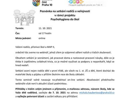 Psychohygiena - online setkání pro rodiče a veřejnost