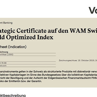 Termsheet Strategic Certificate auf den WAM Swiss Equiy Yiel Optimized Index