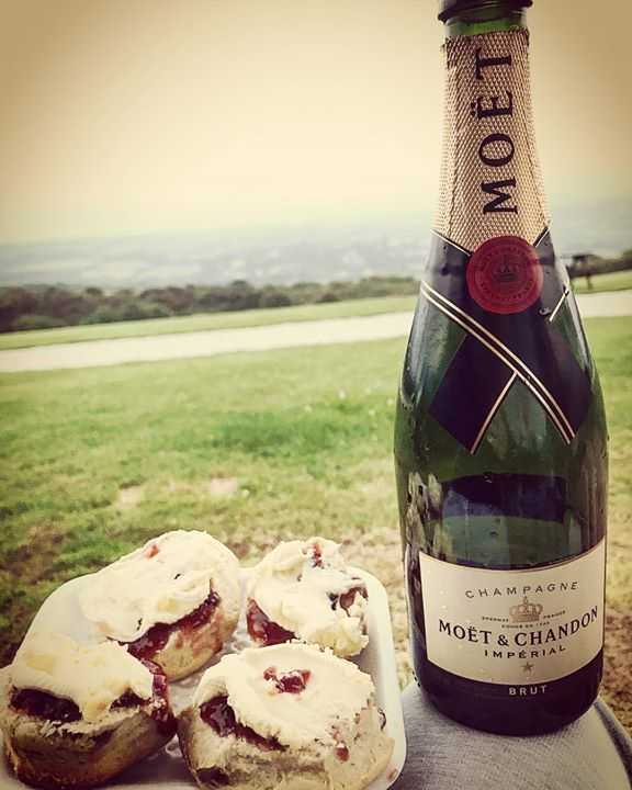 #afternoontea #cornishstyle #moetmoment #clottedcream #jam #views