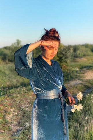 """Silk velvet kimono """"Celestial Blue"""" long"""