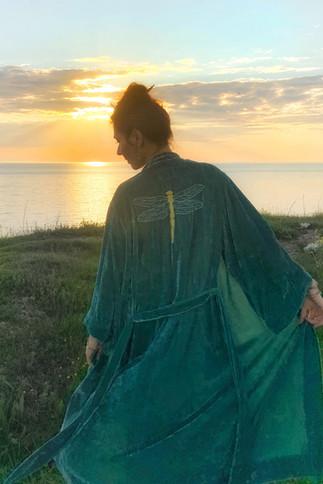 """Silk velvet kimono """"Underwater World"""" short"""