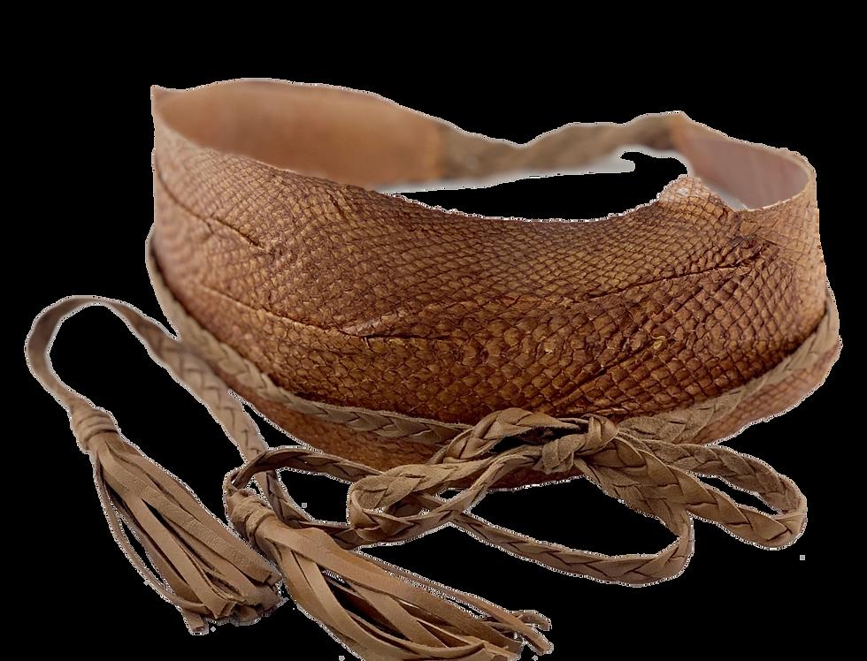 """Fish leather belt """"Hazelnut"""""""