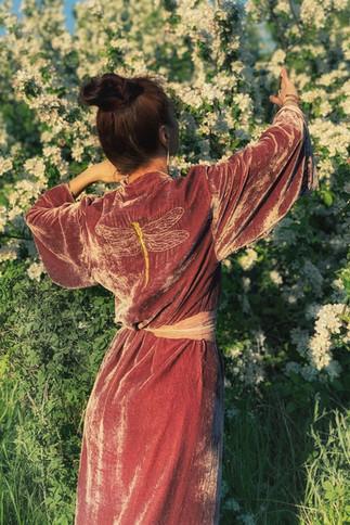 """Silk velvet kimono """"Cherry Blossom"""" long"""