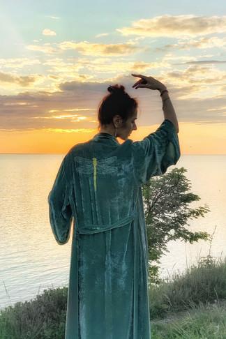 """Silk velvet kimono """"Magical Meadow"""" long"""
