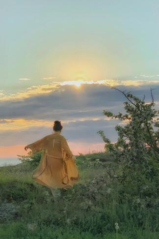 """Silk velvet kimono """"Golden Hour"""" short"""