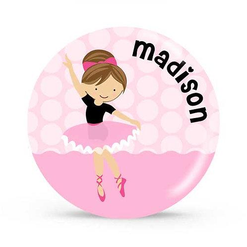 Brunette Ballerina - Personalized Plate For Kids