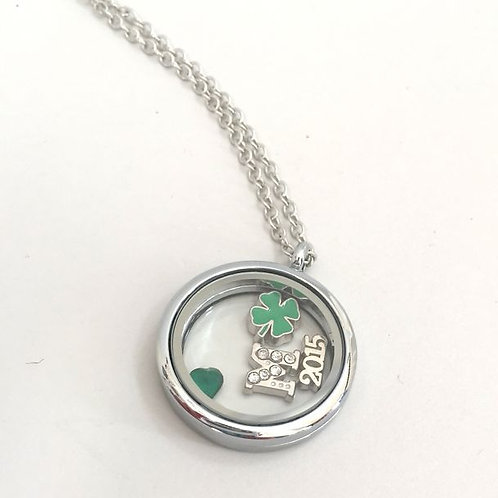 St. Patricks Day Theme Floating Charm Necklace