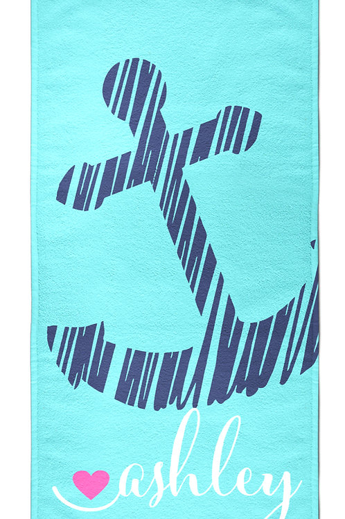 Sketch Anchors - Personalized Beach Towel