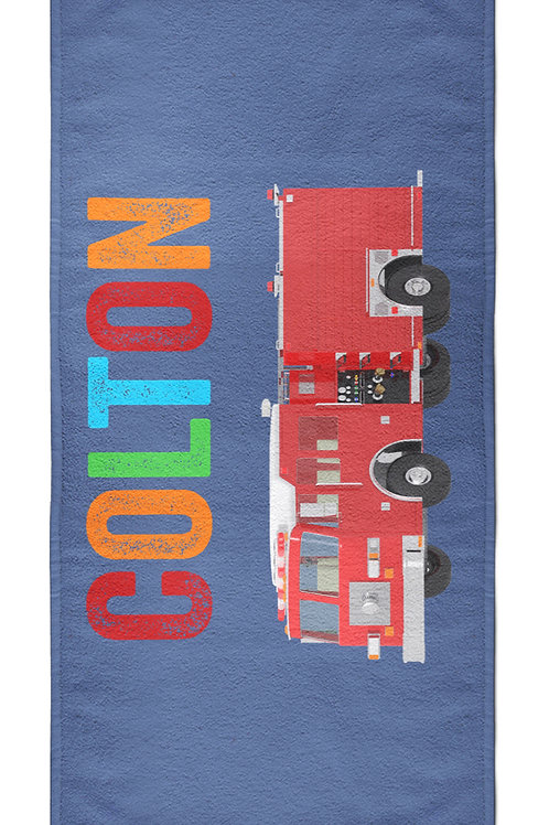 Fire Engine  - Personalized Beach Towel